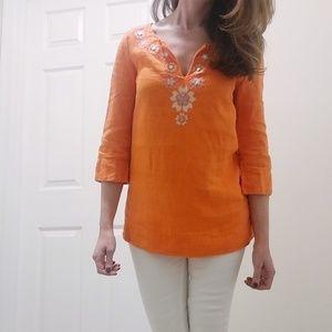 🦋J Crew Orange Linen Tunic - 3/4 sleeves - Size 0